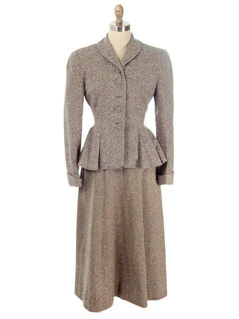 Vintage Ladies Wool Tweed Suit Peplum & A Line Skirt 1940s Medium| For Costume - The Best Vintage Clothing - 1