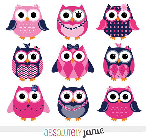 Girly Navy Pink Owls Digital Clipart - INSTANT DOWNLOAD - Clip Art Commercial Use