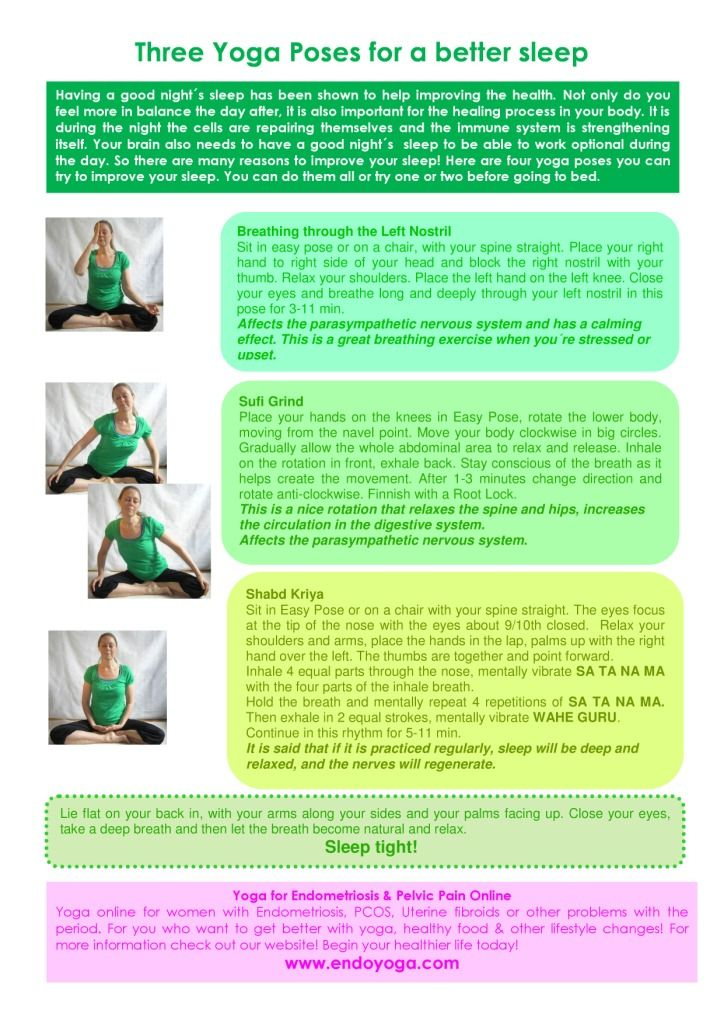 Three Yoga Poses for a good night´s sleep. http://www.endoyoga.com/1/post/2013/09/three-yoga-poses-for-a-good-nights-sleep.html Yoga for endometriosis & pelvic pain