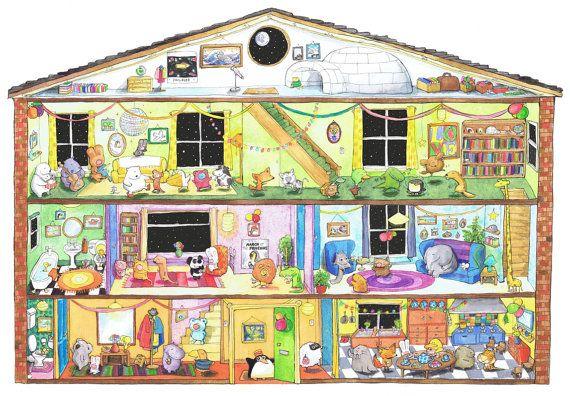 A4 Del pinguino partito acquerello e inchiostro stampa di illustrazione per bambini / / animali, divertente, camera bambini, Home Decor