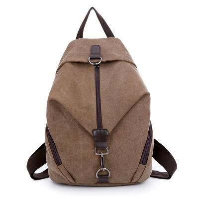 Pure Color Canvas Backpack College Book Bag Travel