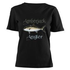 Amberjack Angler Women's V-Neck Dark T-Shirt $29.50