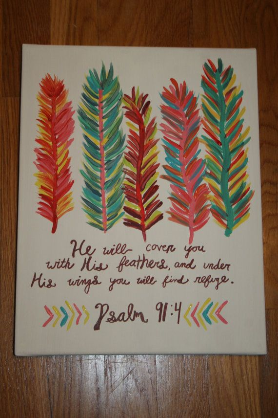 Hey, I found this really awesome Etsy listing at https://www.etsy.com/listing/177065460/colorful-feather-bible-verse-painting