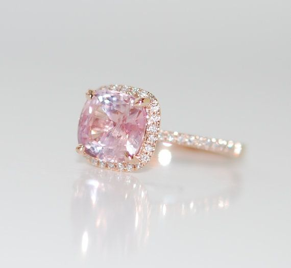 Rose Gold Engagement ring. Peach Pink Sapphire by EidelPrecious