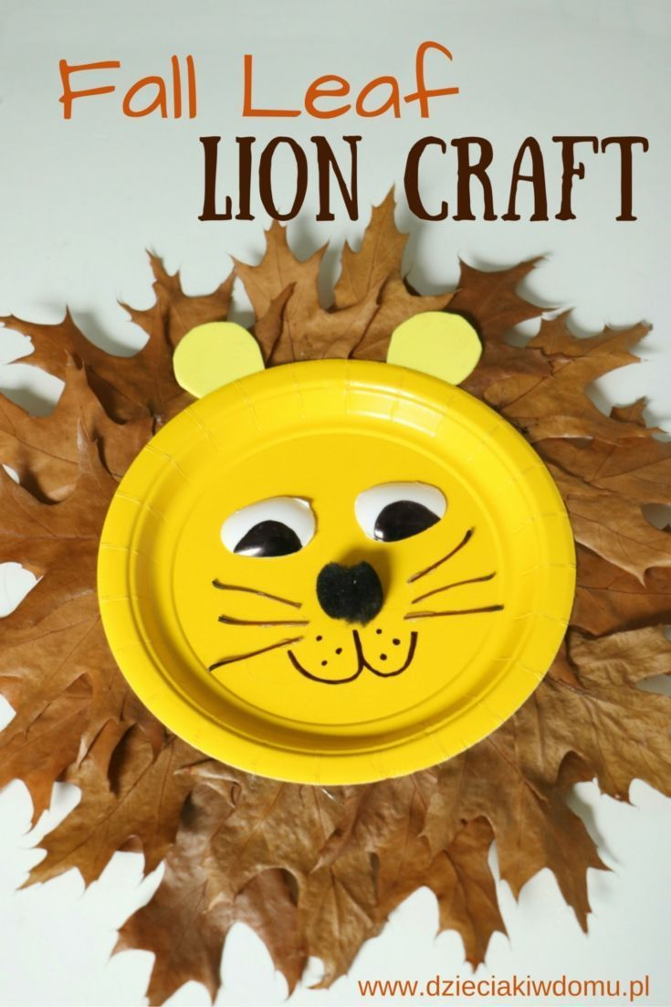 Fall leaf lion from paper plate craft for kids