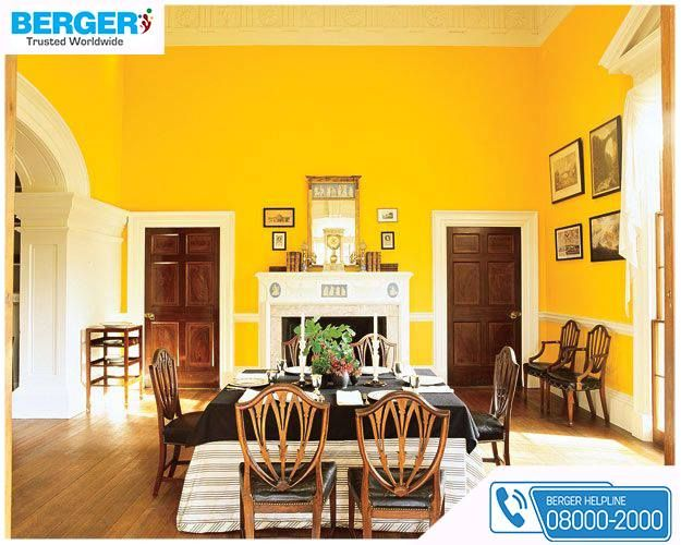The Bright Yellow Paint In Dining Room Will Cheer Up The Dining Moments ~  Berger Paints Part 86