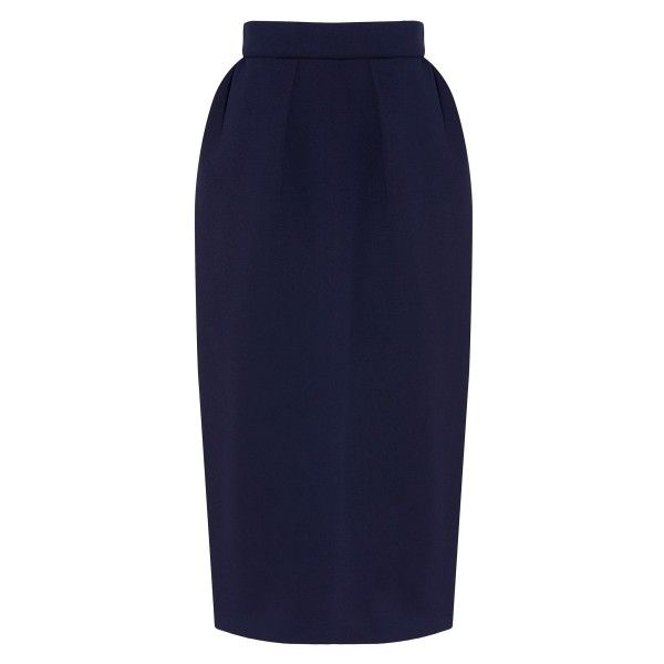 Delpozo Neoprene Pencil Skirt (24.545 RUB) ❤ liked on Polyvore featuring skirts, structured skirt, knee length pencil skirt, navy blue skirt, navy skirt and neoprene skirts