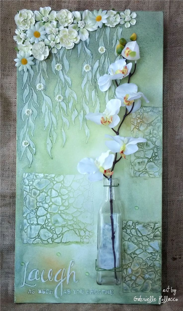 Mixed media Canvas/home decor tutorial by Gabrielle Pollacco using TCW (The Crafter's Workshop) stencils and Shimmerz Paints. Stencils used in this project: ...