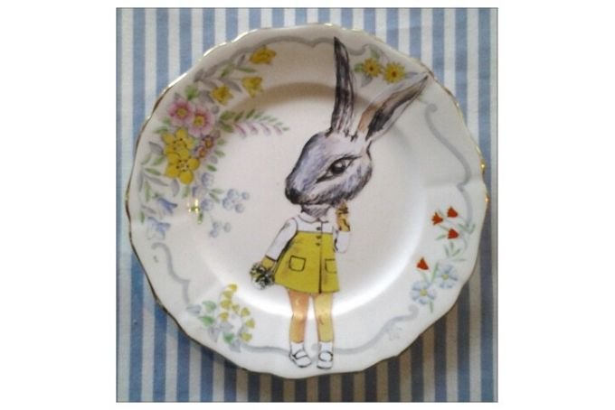 Bunny art on vintage cake plate by TERRY ANGELOS ART on hellopretty.co.za
