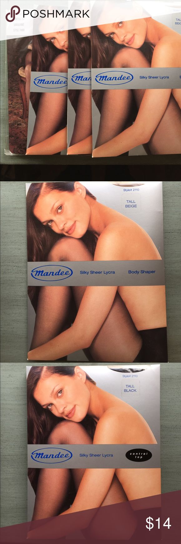 4 Pairs Tall Size Pantyhose 1 Pair Tall Beige Body Shaper Silky Sheer Lycra. 2 Pairs Tall Black Control Top Silky Sheer Lycra. 1 Pair Tall Taupe Control Top Sandalfoot Silky Sheer Lycra.  Brand New in Package. Various Accessories Hosiery & Socks