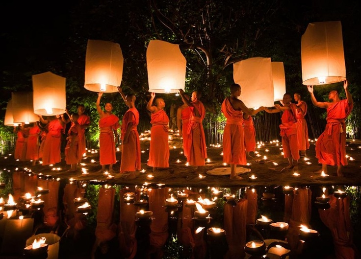 Monks release lanterns for Loy Krathong Buddhist Festival in Chiang Mai, Thailand.