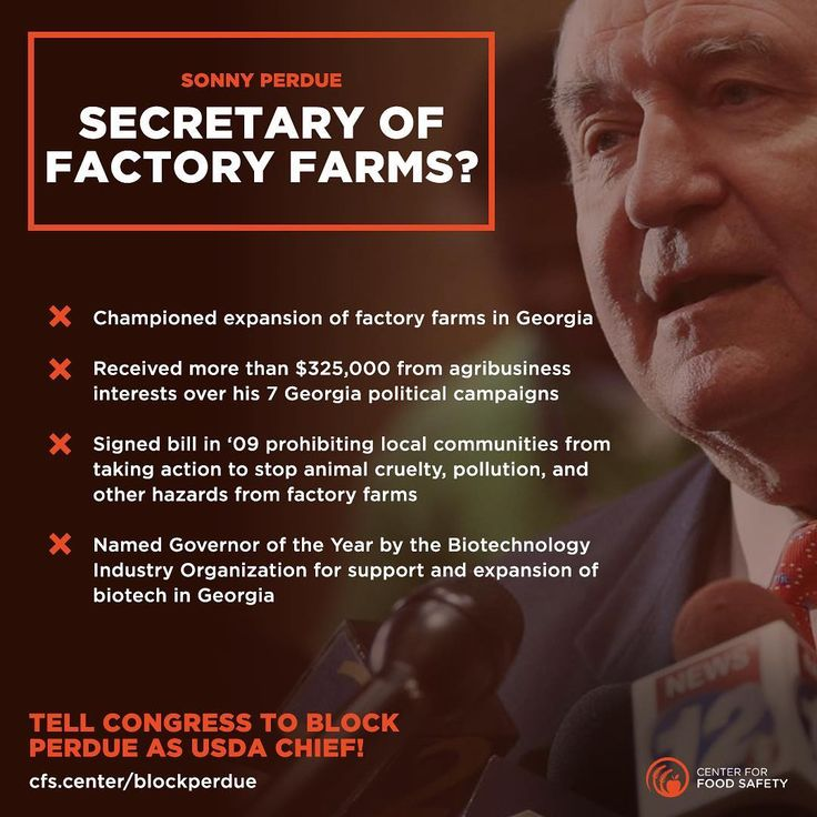 """Just announced: Sonny Perdue's confirmation hearing is set for next Thursday. Don't let Perdue get confirmed as USDA Chief without a fight! We will not stand for """"business as usual."""" Tell your Senators to vote NO on Sonny Perdue! >> Add your voice: cfs.center/blockperdue"""