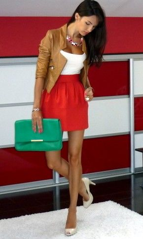 Super cute!!: Fashion, Color Combos, Style, Clothes, Dress, Outfit, Leather Jackets, Color Combination, Red Skirts
