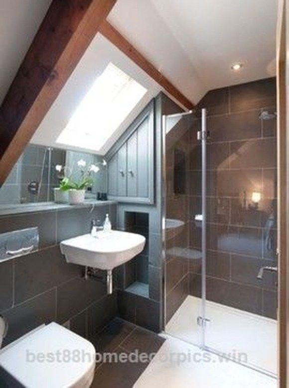 30 Modern Attic Bathroom Design Ideas Coodecor In 2020 Loft Bathroom Attic Shower Attic Bathroom