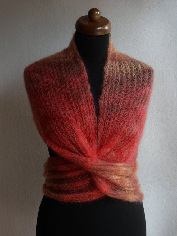Knitted circle Infinity scarf, silk and mohair, coral-grey-orange, Fall Accessories, Fall Fashion, October gift, Octoberfest, READY TO SHIP
