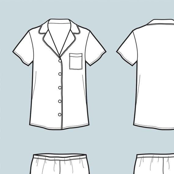 Fashion Illustration Design Pajama Suit Vector Fashion Flat Sketch Adobe Illustrator Illustration Fashion Design Fashion Illustration Fashion Design Drawings