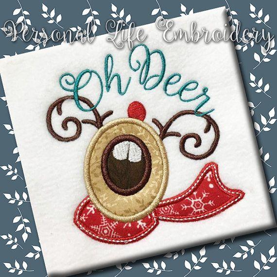 Oh Deer kerst Rendier Xmas slee Santa Machine borduurwerk digitale stoffen ontwerppatroon INSTANT Caroler handgeschreven lettertype DOWNLOADEN