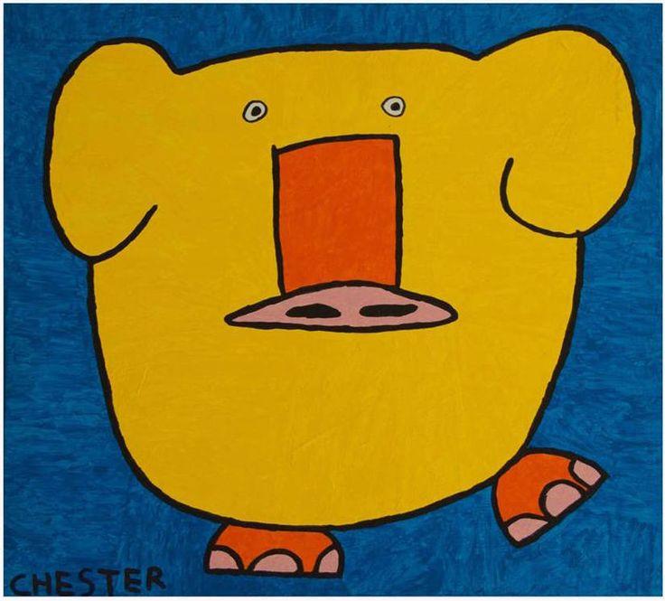 Schilderij gemaakt door Chester. En zoals dat gaat met schilderijen kun je je eigen fantasie hier op los laten. Wij zien er een olifant en varken in.