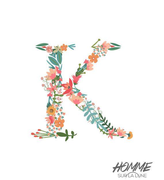 Monogram letter print, floral monogram nursery, initials home decor printable initial lettering file flowers art decor you choose the letter