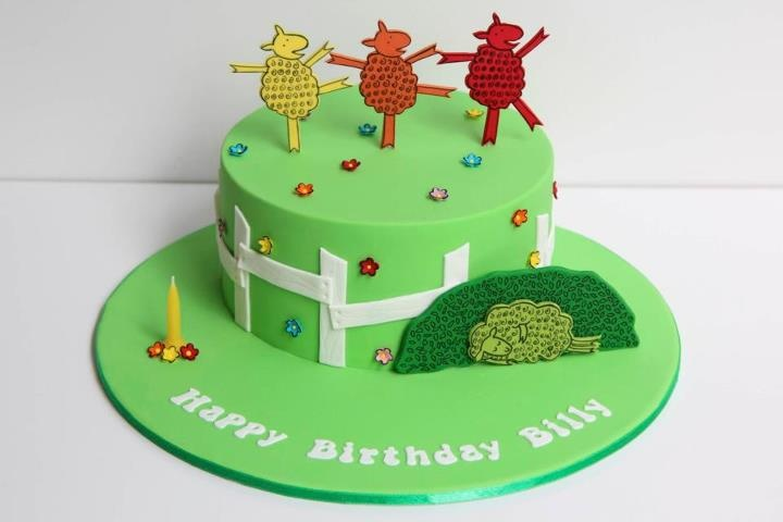 """Cake by Creative Cakes by Julie, based on """"Where is the Green Sheep?"""" by Mem Fox and Judy Horacek."""