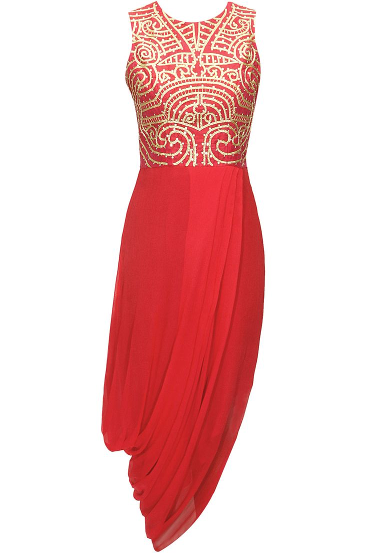 Coral maori embroidered draped dress available only at Pernia's Pop-Up Shop.