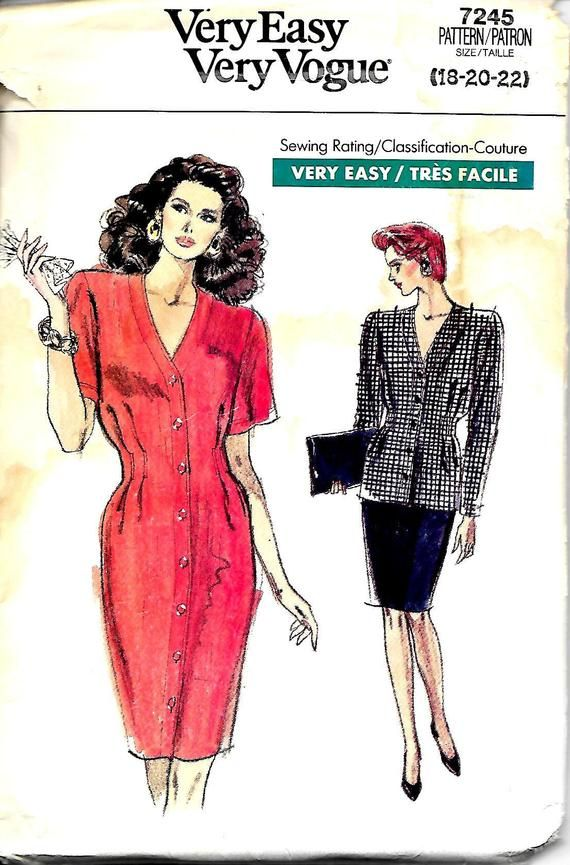 7682 Very Easy Very Vogue uncut sewing pattern Misses Bias Sz 6-8-10 Front Pleated Bodiced Dress with Tapered or Flared skirt