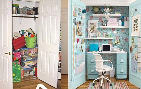 Un closet transformado en oficina