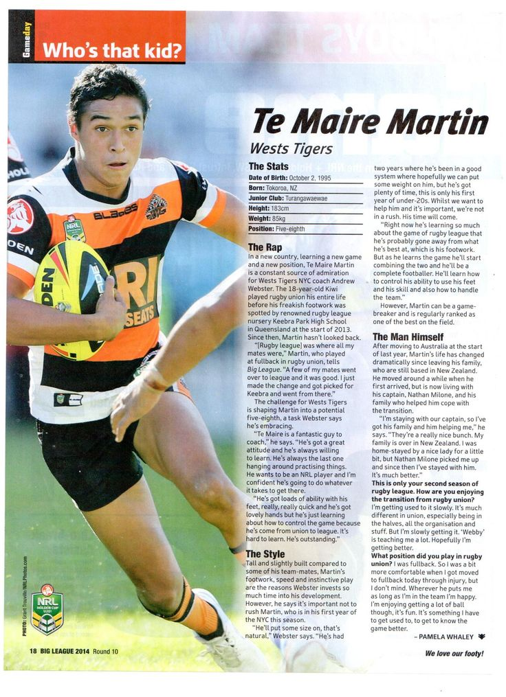 Meet Te Maire Martin: Wests Tigers teen sensation has been lighting up the Holden Cup this year with some scintilating performances. After another 3 try assists and one for himself, readhow theRugby Union prodigy has adapted to Rugby League.