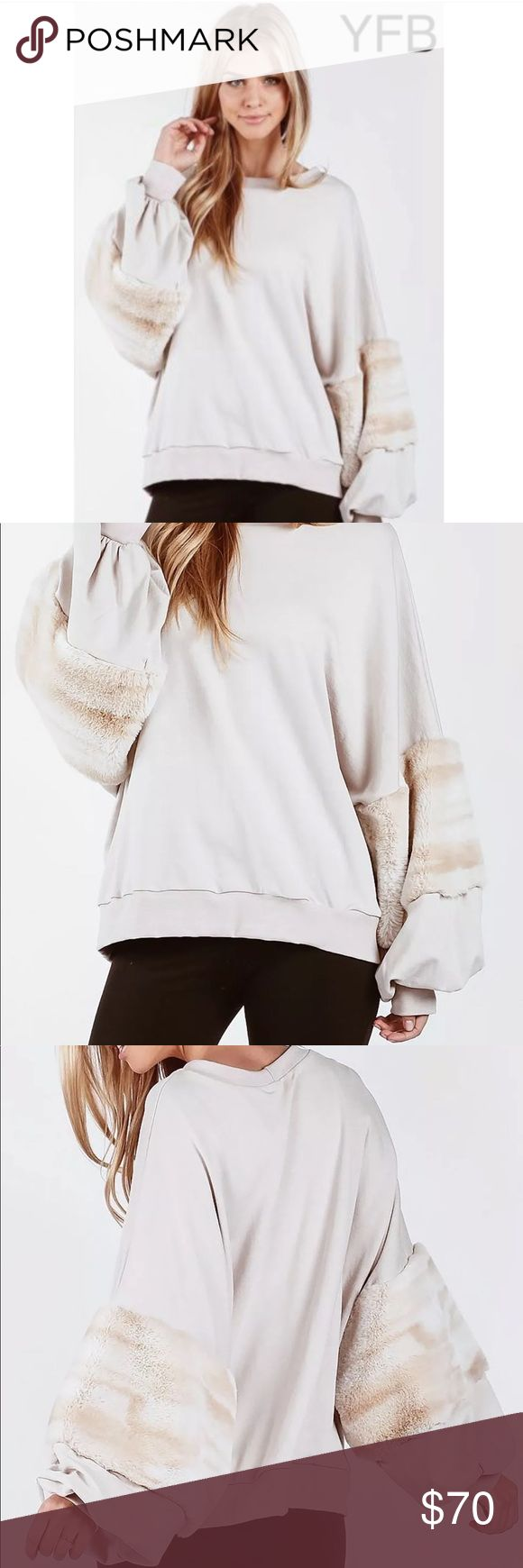 """⭐️YFB """"Bella"""" Bell Sleeves Faux Fur Sweater 💜 🖤YOUNG FABULOUS AND BROKE ⭐️  Gorgoeus YFB """"Bella"""" Fake Fur sweatshirt pullover cream top. Selling for $160 on YFB site. Dive into style this Winter paired with leggings or skinny jeans.  < SIZES M & L > **This is an oversized piece   Usually ships within two business days! Coming to you from a smoke free home! ☺️ Thank You 🙏 Young Fabulous & Broke Sweaters Crew & Scoop Necks"""