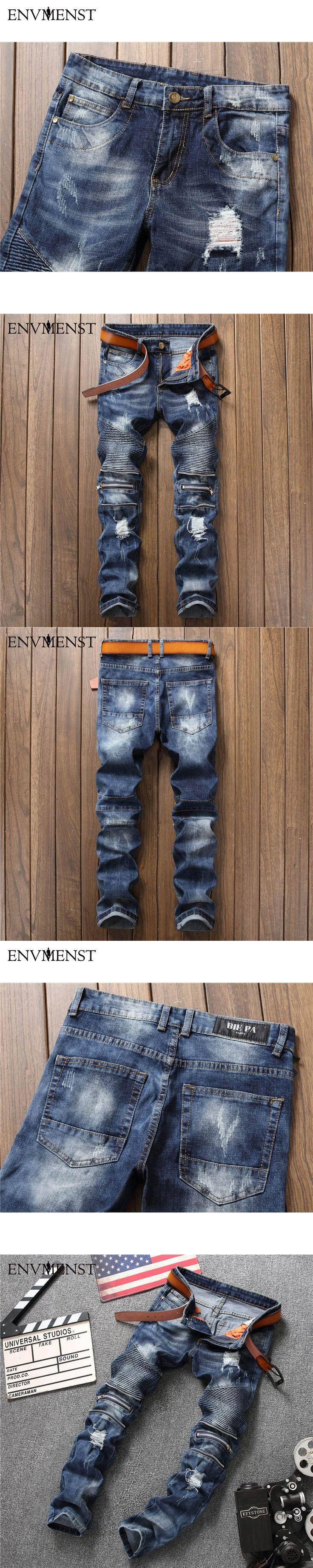 New Biker Men's Zipper Jeans Men Slim Fit Straight Moto Punk Dark Long Designer Pants Nightclubs Men's Jeans Pleated Black Pants
