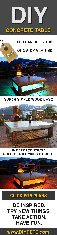 DIY Patio Concrete Coffee Table