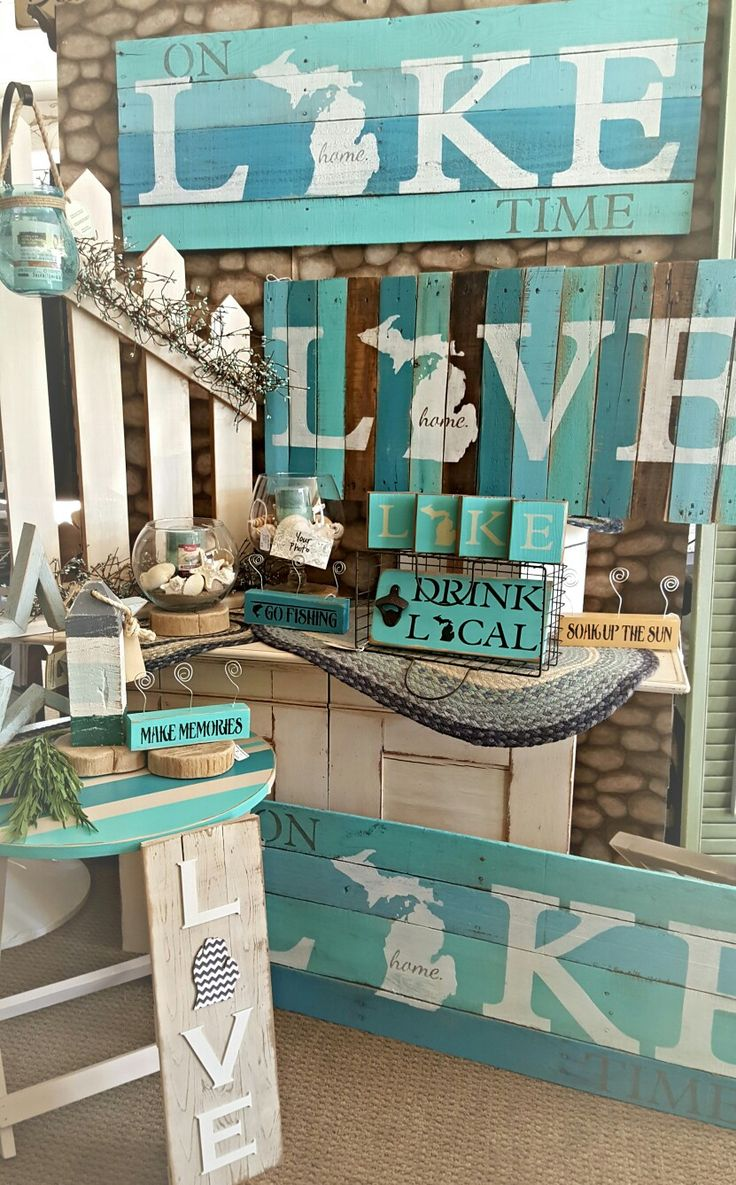 love Michigan pallet sign, nautical fence with lantern, Lake Michigan block sets and more all available at Ann Marie's Gifts and Home Décor located in Beaverton MI find us on Facebook https://www.facebook.com/AnnMarieHeathCustomFlorals/