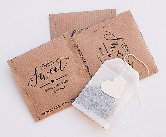 Tea bags personalized - Wedding guest favor - PDF printable - Custom text and size available