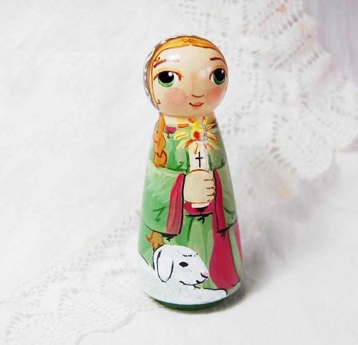 Baby Peg Toys : Saint genevieve doll catholic wooden peg