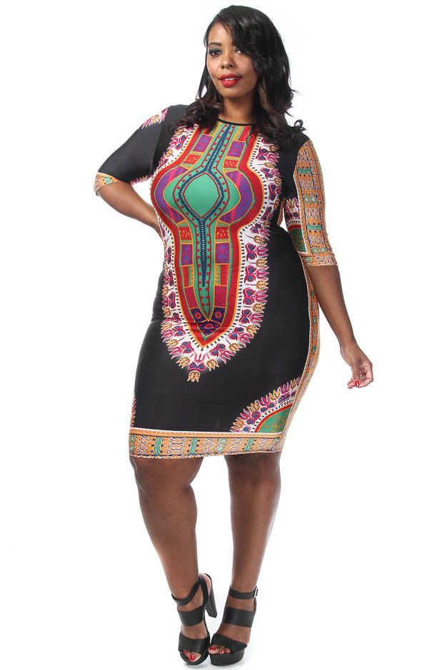 Plus Size Dashiki Print Bodycon Dress