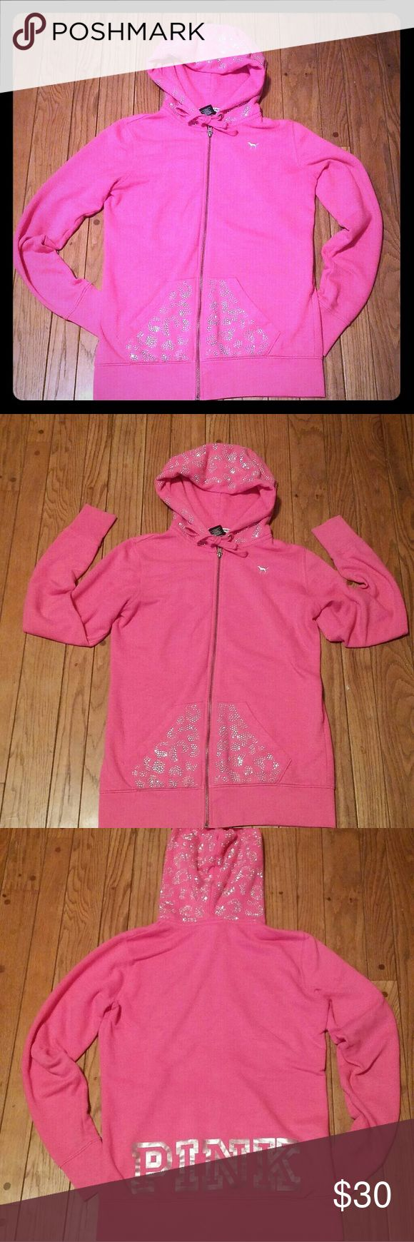 Victoria's Secret PINK Cheetah BLING Hoodie XS Victoria's Secret PINK Cheetah pattern BLING Hoodie XS. Size XS, but as with all VS hoodies it will fit a small. A little longer than a typical hoodie which is perfect with leggings. Only slight wear at ends of sleeves, not really noticeable. I would say good condition. PINK Victoria's Secret Tops Sweatshirts & Hoodies