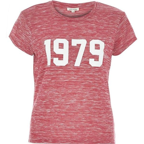 River Island Pink marl 1979 fitted t-shirt ($36) ❤ liked on Polyvore featuring tops, t-shirts, shirts, pink, print t-shirts / tanks, t shirts / tanks / sweats, women, fitted tops, pink tee and red top