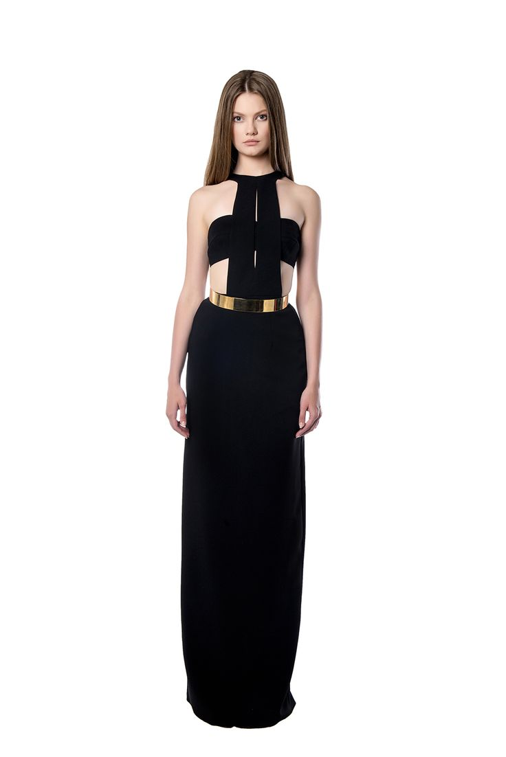 Black maxi crepe dress  This maxi dress has its own unique structure on the top, as it covers the lower part of the body. It is made of black crepe and also provides an additional gold belt to be placed on the waist.