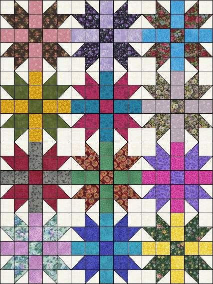 Scrappy Grab Bag Fabric Sisters Choice Easy To Make Ready To Sew Pre-Cut Quilt Blocks Top Kit