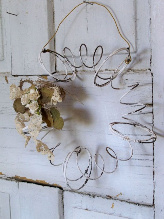 old primitive white decor | ... wreath salvaged bed springs primitive farmhouse wall decor Anita Spero