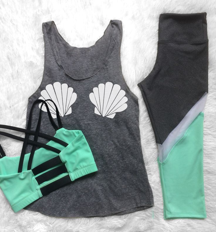 Everything about this workout outfit! The mint yoga pants, the mermaid seashell tank top, and that gorgeous mint sports bra with all of the straps!!