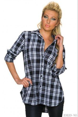 Βαμβακερό ασύμμετρο καρό πουκάμισο - Μαύρο Άσπρο