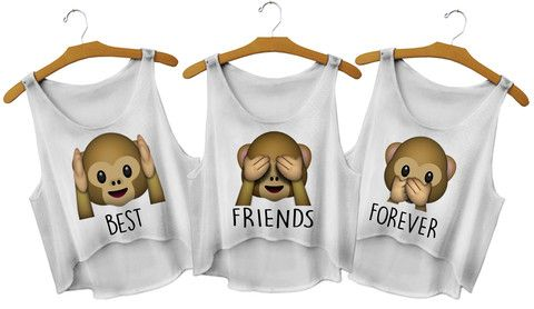 Best Friends Forever Monkey Crop Tops - Fresh-tops.com In M
