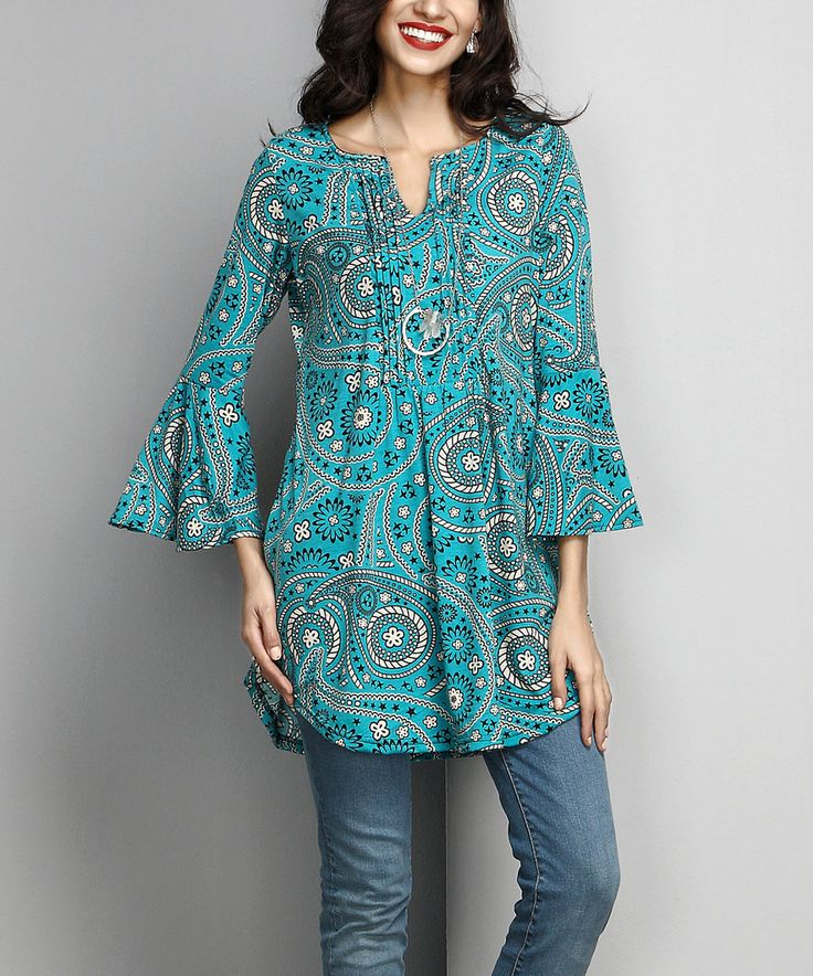 Take a look at this Aqua Paisley Notch Neck Bell-Sleeve Tunic today!