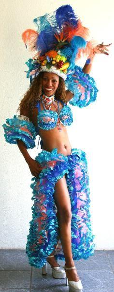 Samba Kostüm Carmen Miranda Costume Karneval Fasching Travestie Carnaval Rio türkis blau orange