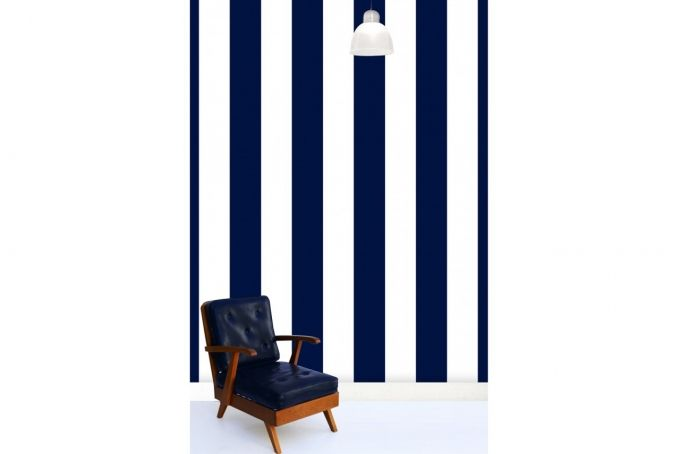 Indigo Pinstripes Wallpaper  by Design Kist