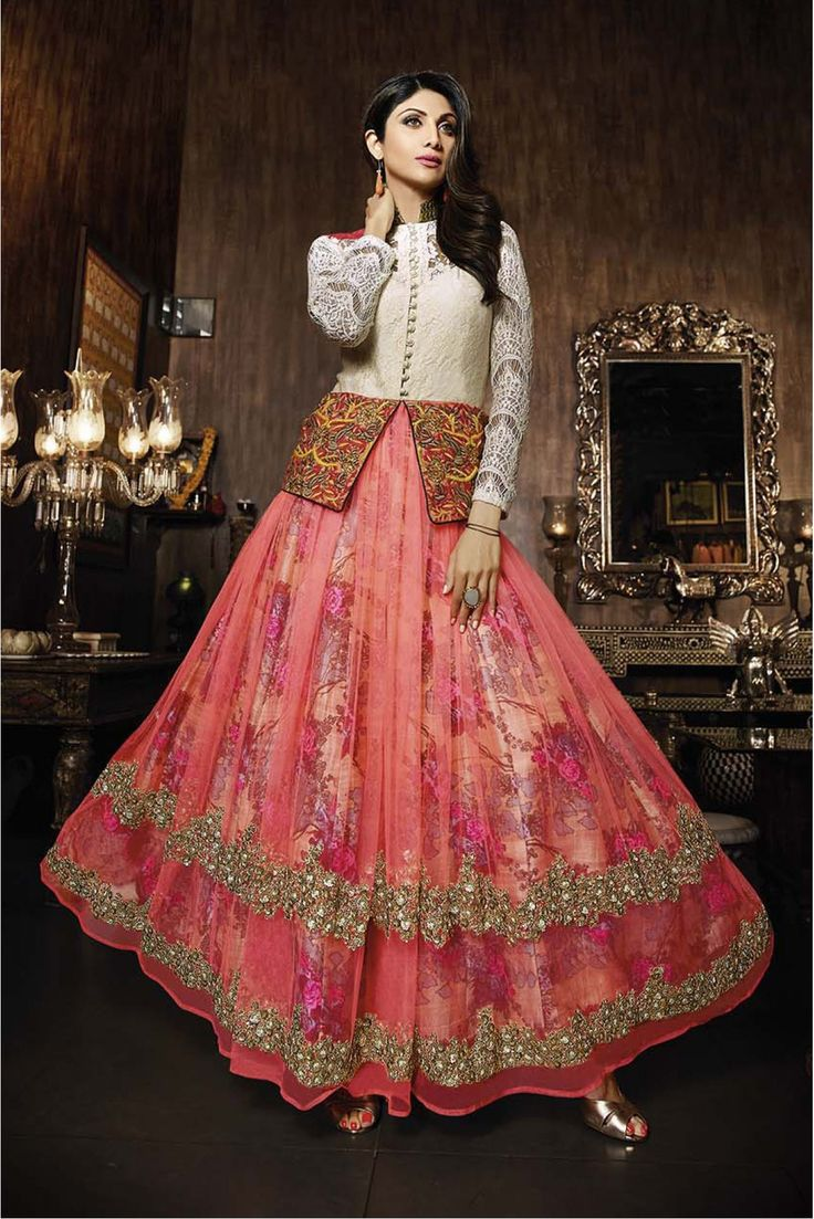 Bollywood Shilpa Shetty Net Semi Stitched Anarkali Suit In White and Peach Colour