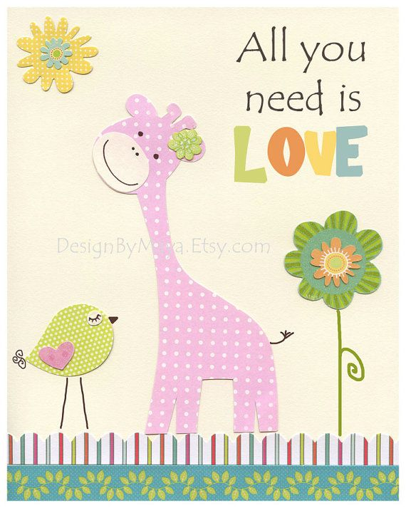 All you need is Love  For Kids Room // Baby by DesignByMaya, $17.00