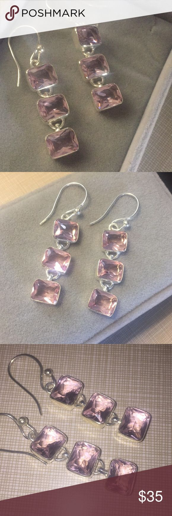 "Made in USA pink quartz sterling silver earrings Made in USA beautiful pink quartz party earrings classy elegant stylish silver stamped 925 dangle approximately 2""1/4long shepherds hook NWT Jewelry Earrings"