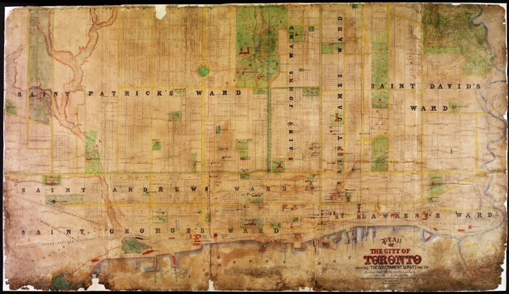"""1862 HJ Browne Plan of the City of Toronto """"This map shows the great increase in subdivided land as a result of the boom years of the 1850s. Building lagged well behind subdivision, however, and many of the lots shown here were still vacant decades later.  This type of plan, known as a """"compiled plan"""" first appeared in the 1850s. It was put together from the official plans in the Registry Office, and was very helpful- to speculators, builders, and ordinary citizens trying to locate lots..."""""""
